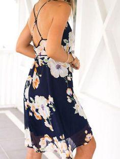 Floral print chiffon summer dress. Gorgeous spaghetti strap blue and orange casual dress. Floral dresses, chiffon dresses, summer dresses. Fabric :Fabric has no