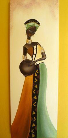 cuadros tripticos polípticos africanas, modernos Black Women Art, Black Art, Afrique Art, African Paintings, African Theme, Caribbean Art, Art Africain, African American Art, African Beauty