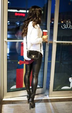 Image result for skin tight leather leggings