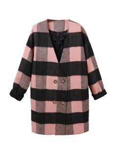 Check Pattern V-Neck Double Breasted Wool Coat