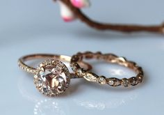 THE MOST PERFECT ENGAGEMENT SET!!!! <3 https://www.etsy.com/listing/198249344/morganite-engagement-ring-set-7mm-round?utm_source=Pinterest&utm_medium=PageTools&utm_campaign=Share
