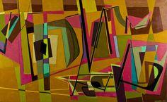 Sam Vanni: Marraskuun sommitelma, öljy, 1958, 76 x 124 cm. Hagelstam.