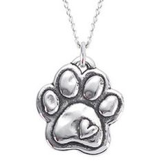 Rockin Doggie Sterling Silver Necklace - Paw with Heart - for my mama