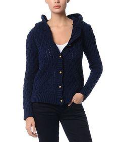 Look at this #zulilyfind! Navy Blue Hooded Cardigan #zulilyfinds