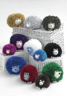 Create a whole family of these adorable cuddly knit hedgehogs using Tinsel Chunky yarn by King Cole.