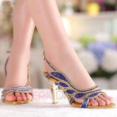 Ericdress Fashion Leaf Luxrious Rhinestone Stiletto Sandals Stiletto Sandals