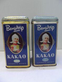2 ältere Blechdosen Bensdorp Kakao Blau und Gold