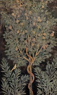 Pompeii fresco from House of the Fruit Orchard. World tree with serpent - this symbol is found in ancient cultures around the world in various styles and formats. Ancient Rome, Ancient Art, Ancient History, Art History, Pompeii Italy, Pompeii And Herculaneum, Art Romain, Décor Antique, Roman Art