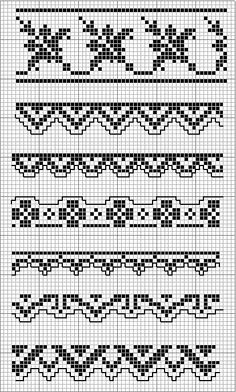 7 Monochrome Borders. Cross stitch chart. #cross_stitch