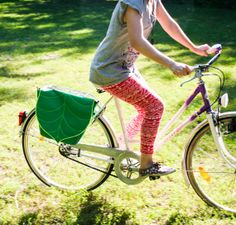 Green Leaf  Pannier Bicycle Bag, Bike accessory Messenger bag, Cross Body bag /, UV reactive, Waterproof