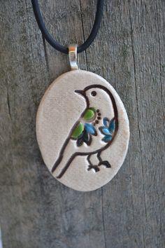 BOHEMIAN BIRD clay necklace.