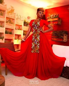 Ankara Photo of The Day: Yemi Alade's Red Ankara Print Gown for Shell's Make The Future Campaign in Rio de Janeiro, Brazil + Performance Video African Inspired Fashion, African Print Fashion, Africa Fashion, African Fashion Dresses, Fashion Prints, African Outfits, African Prints, African Attire, African Wear
