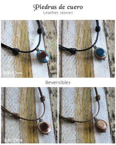 Colgante de piedra de cuero hecha a mano con dos caras diferentes. Handcrafted leather stone pendant. Two diferent sides. #leather #leatherstone #colgante #cuero #artesania #pendant #leatherpendant #leatherjewlery #etsy #etsyseller