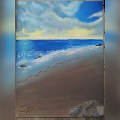 painting with acrylics ... by me #acryl #acrylics #painting #paintingbyme #byme #ocean #meer #beach #strand #heaven #himmel #clouds #wolken #sunsrise #sonnenaufgang #seashells #muscheln #footprints #fussspuren #germany