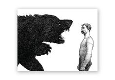 Man vs. Bear Birthday Card by franticmeerkat on Etsy