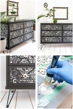 Stenciled and Painted IKEA Dresser Makeover Painting Plastic Furniture, Grey Painted Furniture, Ikea Drawers, Painted Drawers, Ikea Dresser Makeover, Furniture Makeover, Happy Paintings, Diy Painting, Colorful Backgrounds