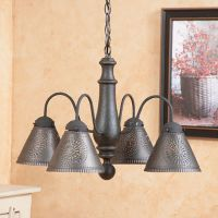 Crestwood Wooden Chandelier Finished In Americana Black Over Red
