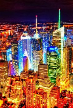 New York City at night.
