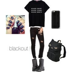 blackout outfit ! by loverofeverything8infinite on Polyvore featuring polyvore fashion style RSQ Hush Puppies