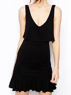 Solid Color Black V Neck Falbala Embellished Sleeveless Dress