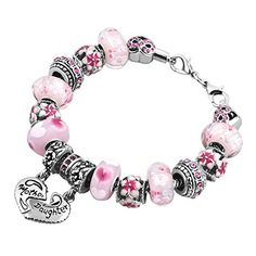 48576035e Unicornj Mother Daughter Charms Bracelets Mom Pink Heart Infinity Murano  Glass Beads Flower Bracelet Mother's Day