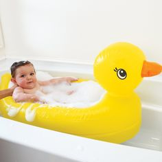 Rubber Ducky Baby Bath. Has a white hot safety disc that turns white when water is dangerously warm.