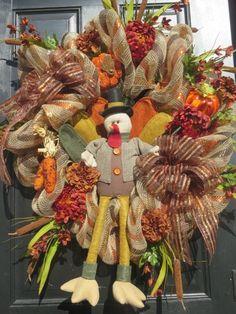 Thanksgiving Turkey Wreath, Thanksgiving Door Wreath, Fall Wreath, Front Door…
