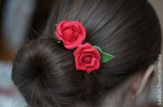 """Заколки ручной работы. Заказать Шпильки """"красные розы"""". Елена Петрова. Ярмарка Мастеров. Прическа невесты, цветы в прическу"""