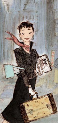 "Audrey Hepburn illustration by Julia Denos from ""Just Being Audrey"""