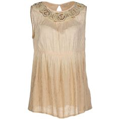 Fracomina Top (€65) ❤ liked on Polyvore featuring tops, sand, sleeveless tops, beaded top, fracomina, rayon tops and beige top