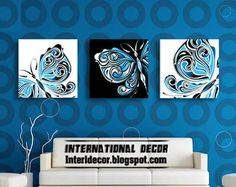 original abstract art 3 paintings on canvas, butterfly paintings on canvas
