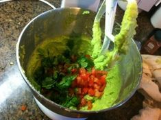 Fresh guacamole made with a Kitchen-Aid mixer.