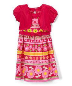 Fuchsia Floral Dress & Shrug - Toddler & Girls