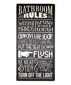Look at this #zulilyfind! 'Bathroom Rules' Wall Sign by Sara's Signs #zulilyfinds