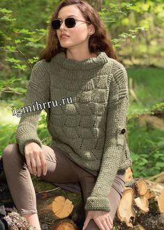Теплый пуловер цвета хаки со структурным узором. Вязание спицами