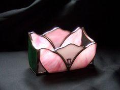 Handmade Stained Glass BOX (Business Card Holder) Flower (BXF42) #Handmade