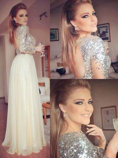 2016 Sparkly Sequin One Shoulder Backless Prom Evening Dresses with Long Sleeves #Handmade #Sexy #Formal