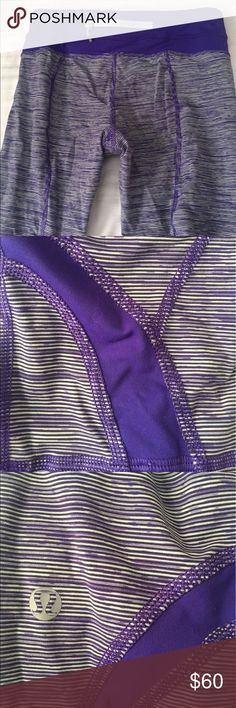 Run Inspire Lululemon Crops Great condition in an awesome stripe pattern. lululemon athletica Pants Leggings