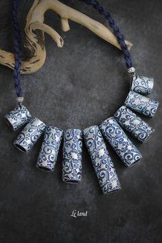 Collar babero collar polímero arcilla joyería por Lelandjewelry                                                                                                                                                                                 Más