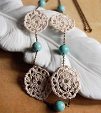 Crocheted jewelry: brilliant! This reminds me of a dream catcher!