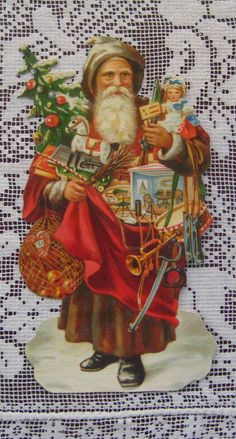 Made in Germany for crafting # Merry Christmas, Father Christmas, Christmas Love, Christmas Pictures, Vintage Christmas Images, Victorian Christmas, Vintage Cards, Vintage Postcards, Saint Nicolas