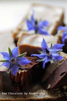 Raw Chocolate Licorice Coconut Fudge with Pecan nuts and Borage Flowers www.innerlightyoga.co.uk  #rawchocolate