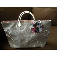 wax tote grey and red