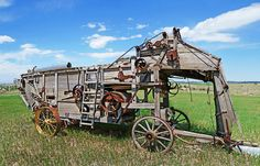 Old Wooden Threshing Machine by Terril Heilman Farm Day, New Farm, Farmall Tractors, Old Tractors, Vintage Tractors, Vintage Farm, Agricultural Implements, Steam Tractor, Wooden Wagon