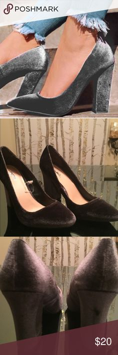 Sleek Velvet Chunky Heels These are simply elegant the shoe has a chunky 3 1/2 inch heel and are soft to the touch the shoe is smoky grey in color Shoes Heels