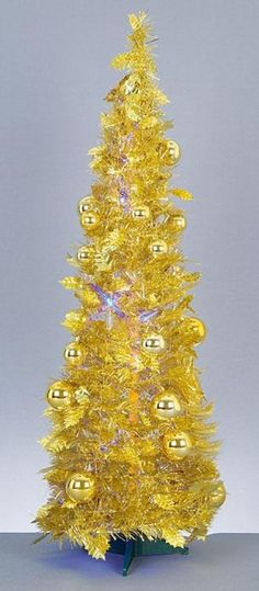 Premier 90cm Slim Gold Pop Up Christmas Tree with Blue LED #Christmas #Trees