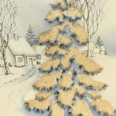 Vintage Christmas Card Glittered Famous Artists Studio Snow Embossed Original Envelope 1948 Martha Washington Stamp Collectible Ephemera by HiltonHeadThriftShop on Etsy