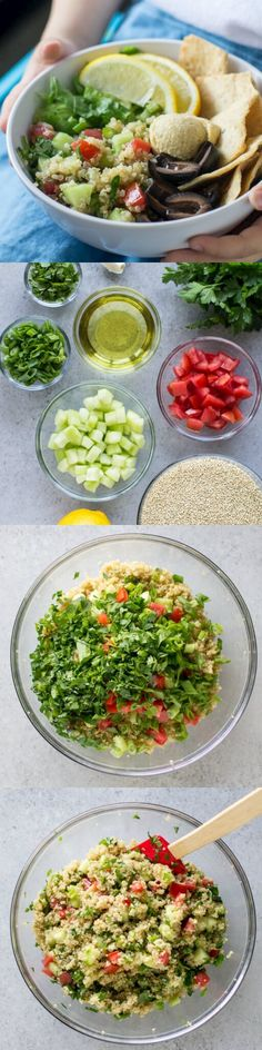 Quinoa Tabbouleh, also a reminder to make a jar version of the Cava greens and grain bowl with super greans and brown rice.