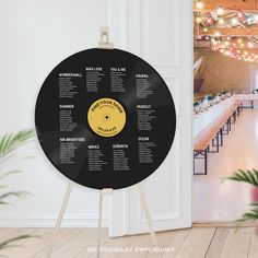 Record Shape Table Plan, Music Theme Wedding Seating Chart, DJ Dance Flat Circular, Unique Wedding Decor, No Ordinary Emporium Seating Chart Wedding, Seating Charts, Wedding Table, Wedding Ideas, Diy Wedding, Wedding Favors, Wedding Inspiration, Record Table, Table Names