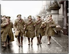 WWI, Dec 1916; British troops coming home for Christmas leave in London. -Doug (@colour_history) | Twitter